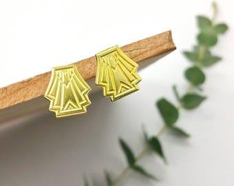 Streamline Flare Brass Post Earrings // LanaBetty // Art Deco