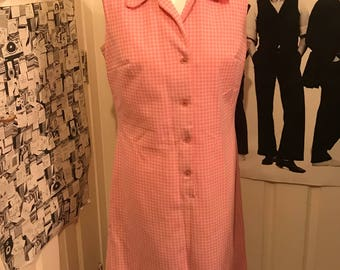 Pink sleeveless gingham pink dress