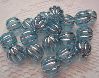 16  Light Blue & Silver Striped Ribbed Pumpkin Round Melon Acrylic Beads  12mm
