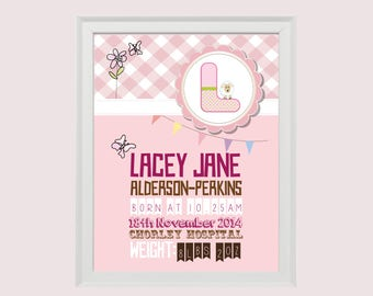 Birth Announcement Print • Instant Download • Personalised Gift New baby • Christening • Girly