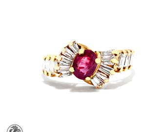 Red Ruby Ring, Oval Red Ruby Engagement Ring, Ruby Ring,  Engagement Ring with Ruby and Baguette Diamonds |10489