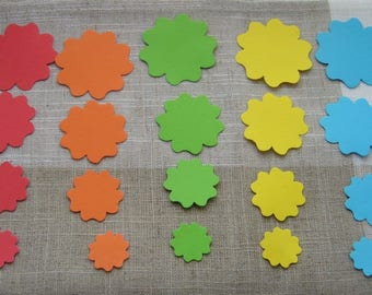 handmade 20 paper embellishments: 4 red, 4, 4 blue, 4 green and 4 yellow
