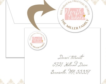 60 North Dakota State Circle Return Address Labels