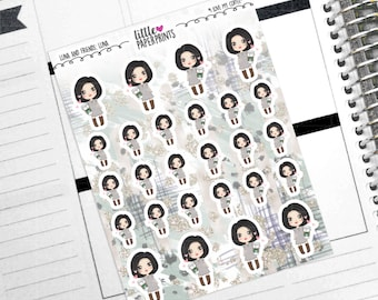 """LUNA - """"I Love My Coffee!"""" Decorative Planner Stickers from the Little Luna and Friends Collection Series"""