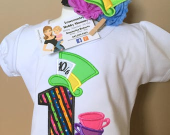 Personalized Mad Hatter Tea Party Number Birthday Shirt