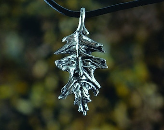 Oak Leaf Greenman Fantasy Jewelry Pendant in Sterling Silver