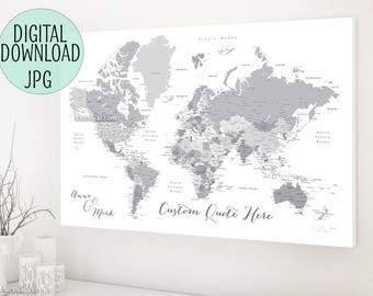 Grey world map etsy printable world map grayscale world map canvas print custom personalized canvas travel pinboard gumiabroncs Image collections