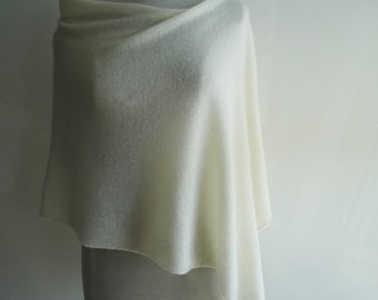 Summer Poncho - Knitted Supersoft  Delicate Geelong Lambswool - Pale Cream