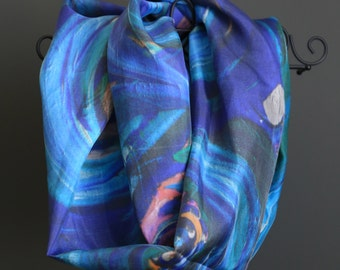 Beautiful abstract blue green silk scarf