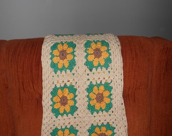 Crocheted Runner/Scarf - Off White w/Yellow/Brown/Green Flowers