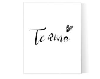 I Love You in Spanish Te Amo Typography Love Printable Wall Art