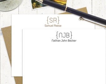 personalized stationery set - MODERN BRACKET MONOGRAM - set of 12 flat note cards - stationary - 3 letter monogram - 2 letter monogram