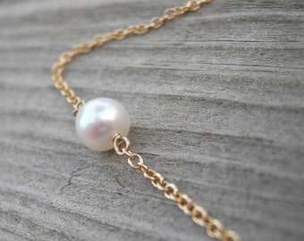 Simple Pearl Gold Fill Wire Wrapped Necklace June Birthstone