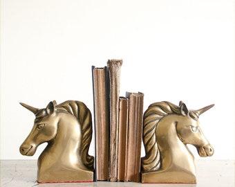 Vintage Brass Unicorn Bookends / 1970's Hollywood Regency Decor