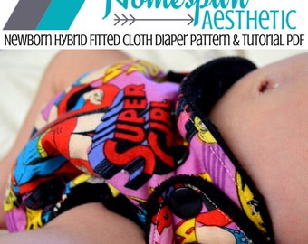 Newborn Hybrid Fitted Cloth Diaper Pattern and Tutorial - Instant Download - In Depth Step by Step PDF - Eco Friendly Diaper - Cord Snap