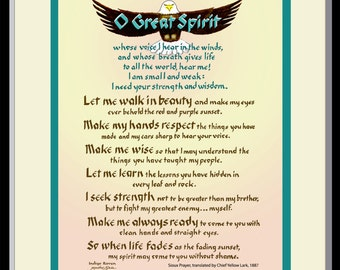 Great Spirit Prayer for Strength and Wisdom, Native American, framed and hand lettered by Jacqueline Shuler