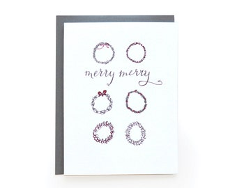 Merry Merry Wreaths - Letterpress Holiday Cards - set of 6