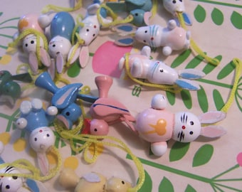birds and bunnies wooden ornaments