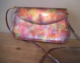Vintage J Rene Colorful Shoulder bag Clutch purse ~ New Wave ~ Northern Lights