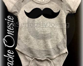 Mustache Onesie-Little Man Party-Baby shower-baby shower gift-Mustache party-Gray onesie-baby boy-baby girl-Mustache clothes-mustache theme