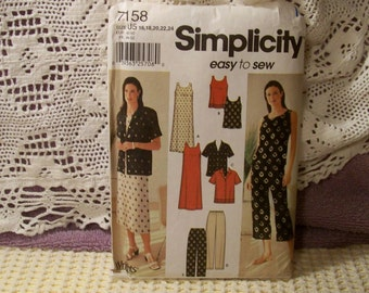 Simplicity Pattern - 7158 - Misses' Dress Or Top, Shirt And Pants In Two Lengths - Size 16,18,20,22,24 - Factory Fold, Uncut Pattern