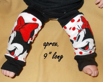 Leg warmer, Infant- Black and White Cartoon on white with red dots clothing infant leg warmer, leg warmer, baby leg warmer, cartoon clothing