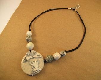 Agate Butterflies - Handmade Ceramic Necklace