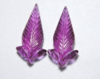 2 Pieces Outrageous Rubelite Pink Quartz Hand Carved Leaves Shaped Loose Gemstone Size 30X15 MM