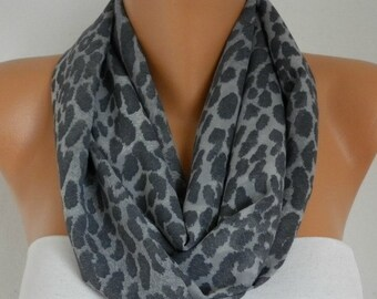 Gray Leopard Print Chiffon Infinity Scarf Summer Scarf Xmas in July Circle, Loop Scarf Gift Ideas For Her Women Fashion Accessories