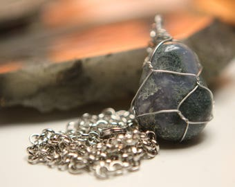 Moss Agate wire wrapped necklace with steel chain