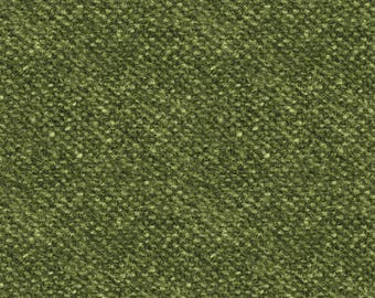 Woolies Flannel Fabric, Light Texture, Nubby Tweed, Faux Wool - by Maywood Studios Green F18507 G - Priced by the 1/2 yard