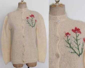 1960's Ivory Mohair Cardigan Sweater w/ Floral Embroidery Size Medium by Maeberry Vintage