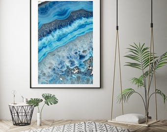 Mineral Photography - (Print # 062) Blue Agate    - Fine Art Print - Two Paper Choices- Mineral Geode Agate Crystal Decor