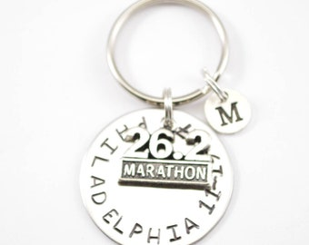 Custom Stamped Marathon Gift Key Chain - 2018 Marathon Gift - Gift for Runner  - Stamped Key Chain - Personalized Keychain wb27