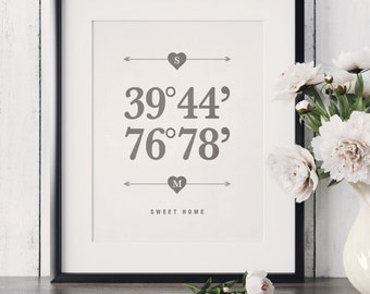 Coordinates Wedding Gift Coordinates Gift Home GPS Coordinates Gift Latitude Longitude Sign New Home Housewarming Gift Realtor Closing Gifts
