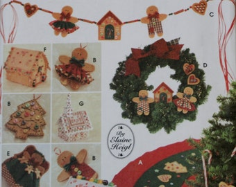 Simplicity 9768 Christmas Tree Topper, Ornaments, Tree Skirt, Wreath, Swag, House and Church Sewing Pattern Uncut