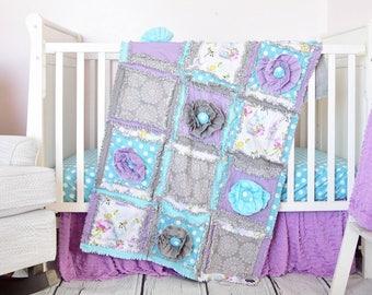 Baby Girl Crib Set - Turquoise / Gray / Purple Baby Bedding - Crib Bedding Girl - Bumperless Crib Set /Quilt / Sheet / Skirt Girls Bedding