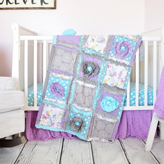 baby girl crib set turquoise gray purple baby bedding. Black Bedroom Furniture Sets. Home Design Ideas
