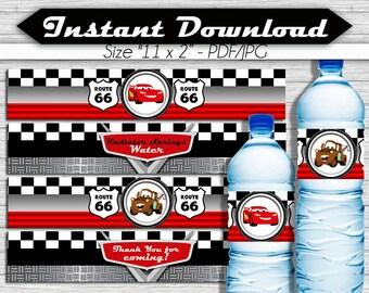 Cars Water Bottle Labels, Instant Download, pdf jpg, Rayo Lightning McQueen