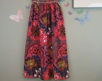 Vintage 60s psychedelic flower print maxi skirt - strapless dress - hippie