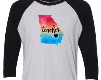 Georgia teacher t-shirt Georgia  teacher shirt  - Teacher t-shirt - Teacher shirt - Georgia state shirt - Georgia state t-shirt