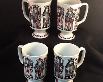 Kings and Queen Pedestal Mugs ~ Set of 4