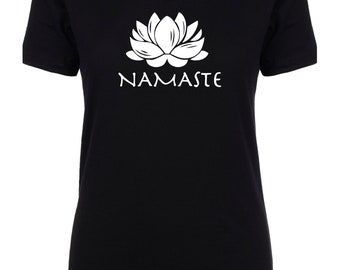 Namaste V-Neck Tee Shirt Women's, S M L, Gift for Her, Workout, Gray, White, and Black. Funny Shirt.