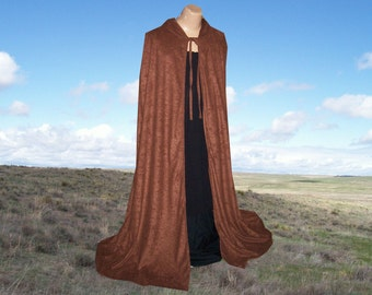 Brown Cloak Cape Faux Suede Renaissance Gothic Medieval  Costume