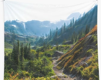 Wall tapestry Mountain Trail Nature photo wall hanging Mountains wall decor Wilderness dorm wall hanging Large tapestry North Cascades photo