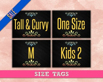 Chalkboard SIZE Cards - Size Tags - Size Cards - Business - Marketing - Hanger Tags - Pricing Name Cards - Newly Released - Instant Download