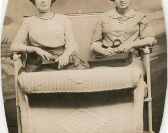 vintage photo 1920 Atlantic City New Jersey Women Ride Wicker Basket RPPC