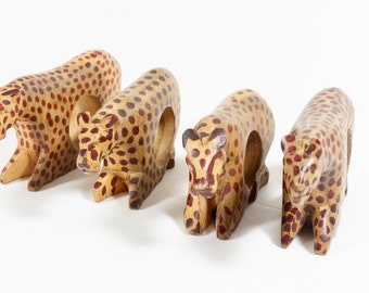 Hand-Carved Leopard Napkin Rings - Wood Animal Napkin Rings - African Folk Art Safari Jungle Decor