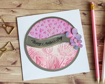 Pretty Pink Handmade Mother's Day Card - handmade, paper crafts, handmade card, celebration, rainbow, cards for her, mom, mum
