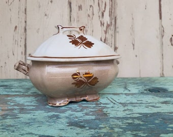Antique Ironstone Butter Dish - Tea Leaf Lidded Bowl By Alfread Meakin, Serving Ware, Distressed Ironstone, Wedding or Housewarming Gift
